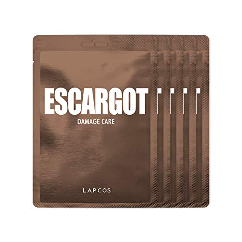 LAPCOS Escargot Sheet Mask, Daily Face Mask with Snail Filtrate to Moisturize and Soothe Skin, Korean Beauty Favorite, 5-Pack