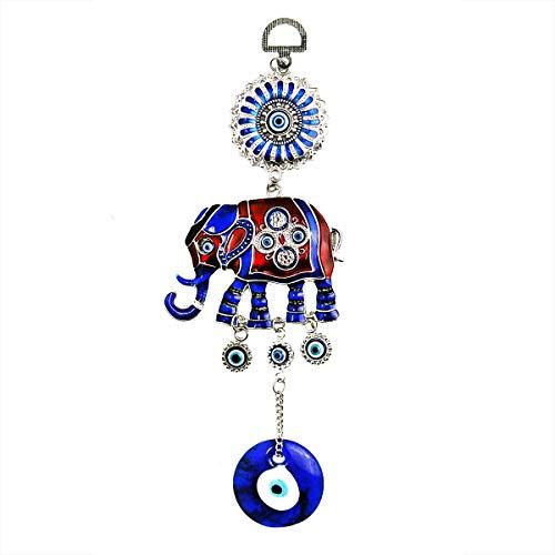 "LUCKBOOSTIUM Blue Evil Eye Pendant w/Red & Blue Elephant Charm & Glass Evil Eye - Sign of Strength, Power, Stability & Wisdom - Home & Car Rear View Mirror Hanging Accessories (Silver, 3.5"" x 9')"