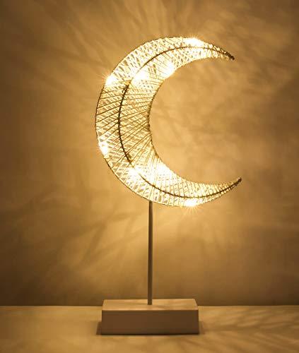 Lewondr Table Lamp, Battery Powered Moon Shape Bedside Light Desk Lamp...