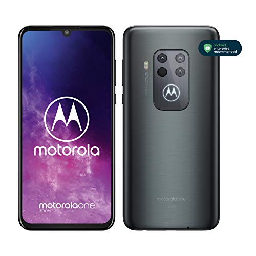 Motorola One Zoom avec Alexa Hands-Free (Ecran FHD+ 6,4 Pouces, 4Go RAM, 128Go ROM, Double Nano SIM, Android 9.0, Quadruple Camera) Gris électrique [Exclusivité Amazon]