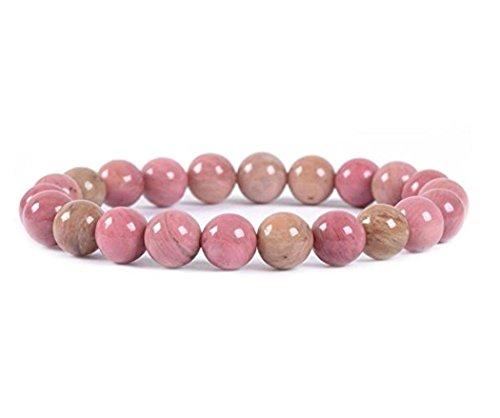 Natural Pink Rhodonite Gemstone Beaded Bracelet 7 inch...