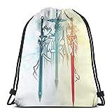 MHHYY Sword Art Online - Mochila deportiva con cordón, para viajes, gimnasio, compras, playa, ligera y de gran capacidad