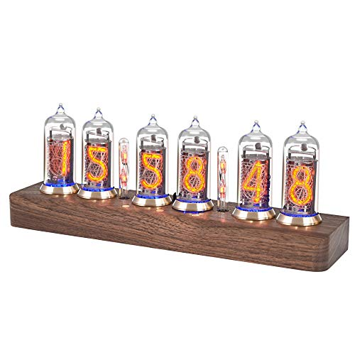 KKTECT IN-14 LED Tube Clock Kit Creative Nixie Clock with USB Cable Glow Clock with High-end LED Color Bulb Wooden Desktop Digital Clock Gift for Wedding Day/Birthday/Christmas/Halloween