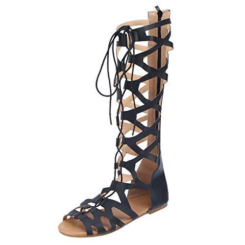 Sandalias Mujer Verano Sandalias Estilo Medias de Mujer Sandalias Romanas Sandalias Altas Sandalias con Cordones MúLtiples Sandalias Planas para Mujer