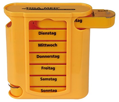 Medikamentendosierer orange Wochendispenser 1 Stück Pillendose Tablettenbox Pillenbox 7 Tage Original Tiga-Med Qualität
