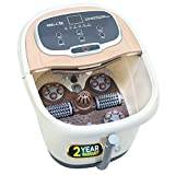 iBELL FTM500A Foot Massager Machine with Auto-Rollers, Foot Spa with Temperature Control,Vibration & Water Heating Technology. For Blood Circulation, Pain Relief & Relaxation (Brown)