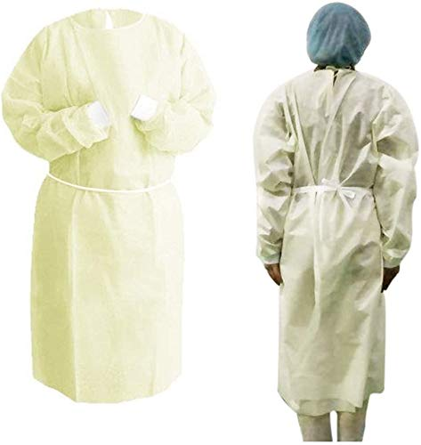 20 Pack Universal Isolation Gown with Elastic Wrists,Adults Disposable Gown Coverall,Indoor Outdoor Safety Personal Coveralls - Yellow