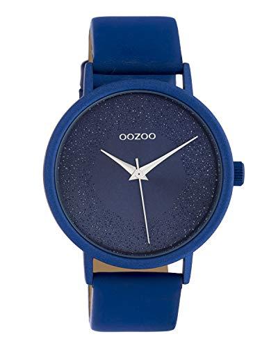Oozoo Damenuhr mit Glitzereffekt und Lederband 42 MM Blau C10583