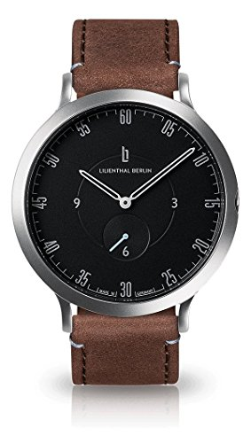 Lilienthal Berlin Unisex Armbanduhr L1 in Silber-Schwarz mit braunem Lederarmband| Prämiertes Design | Qualität Made in Germany | Höchster L01-105