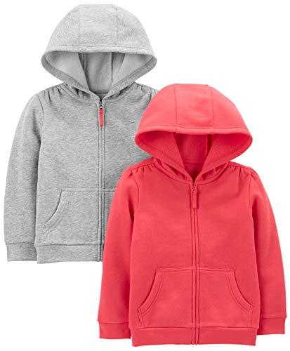 Simple Joys by Carter's 2-Pack Fleece Full Zip Hoodies Hooded Sweatshirt, Pink/Gray, 5, Pacco da 2