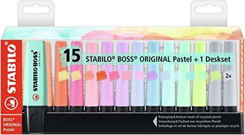 Marcador STABILO BOSS ORIGINAL pastel - Set de mesa con 15 colores pastel