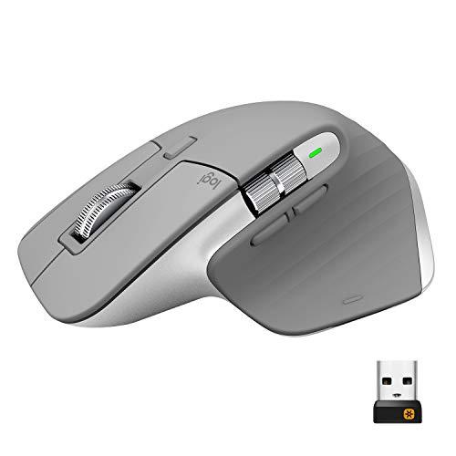 Logitech MX Master 3 Ratón Inalámbrico, Receptor USB, Bluetooth/2.4GHz, Desplazamiento Rápido, Seguimiento 4000 DPI en Cualquier Superficie, 7 Botones, Recargable, PC/Mac/Portátil/iPadOS, Gris claro