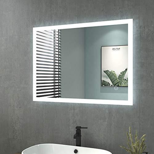 Badspiegel mit Beleuchtung 80x60cm Badezimmerspiegel mit Beleuchtung LED Badspiegel Kaltweiß Lichtspiegel Wandspiegel mit Touchschalter IP44 Energiesparend