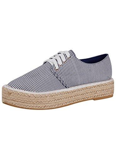 oodji Collection Mujer Zapatillas de Algodón de Suela Trenzada, Azul, 41 EU / 7 UK