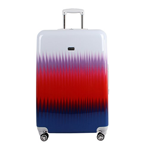 Steve Madden 28 Inch Checked Luggage Collection - Scratch Resistant (ABS + PC) Hardside Suitcase - Designer Lightweight Bag with 8-Rolling Spinner Wheels (Spikes)