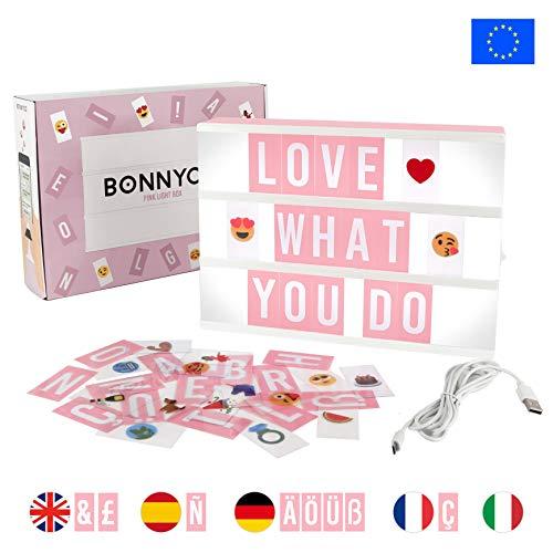 Light Box Rosa con 165 Lettere, Simboli e Emoji, con USB - BONNYCO | Lavagna Luminosa con Lettere...