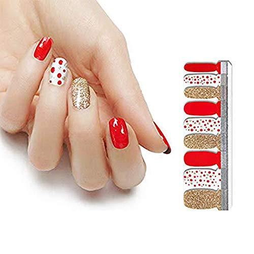 HIGH'S 18pcs Nail Polish Strips Art Polish Stickers Self-Adhesive Nail Decal Wraps for Women Girls Manicure Nail Art Designs, Colorful Christmas