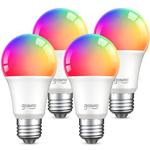 E27 Glühbirne, Gosund Smart Wifi Lampe Dimmbare Mehrfarbige Energiesparlampe, Kompatibel mit Amazon Alexa Echo, Echo Dot Google Home, Kein Hub Erforderlich, Synchronisieren mit Musik, 2.4GHz (4Packs)