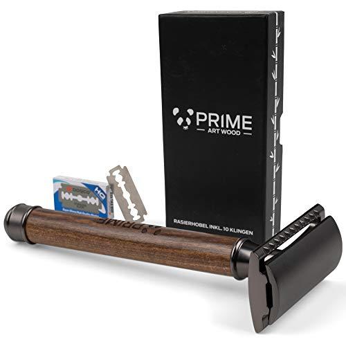 PRIME ART WOOD® Rasierhobel mit Griff aus Zebraholz - TESTSIEGER *SEHR GUT* -...