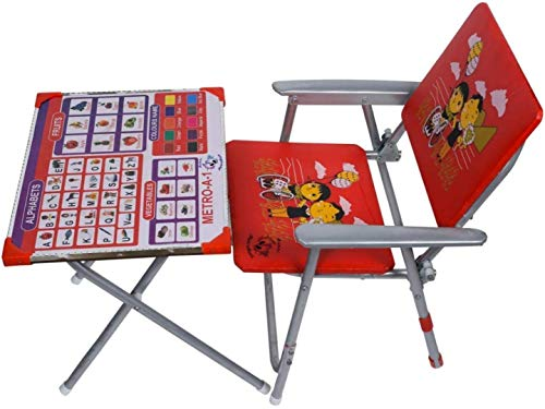 AVANI METROBUZZ Metro Kids Durable Wooden Folding Study Table Chair Set (3-8 Years, Red)