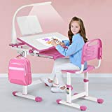 Artist Hand Kids Study Desk and Chair Set Height Adjustable Children School Girl Table Large Writing Board Desk with LED Lamp Pull Out Drawer Pencil Case Bookstand Pink