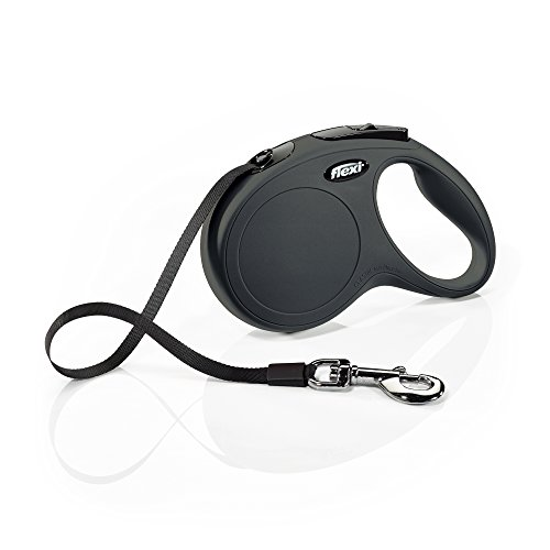 FLEXI New Classic Retractable Dog Leash (Tape), 16 ft, Medium, Black