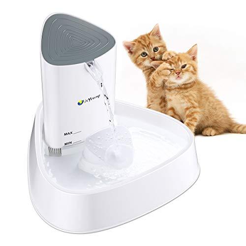 isYoung Fuente para Gatos Fuente Silencioso 1.5 L Bebedero Automático Fuente de Agua para Perros y Gatos Sano e Higiénico con Luz LED y Filtro de Carbón