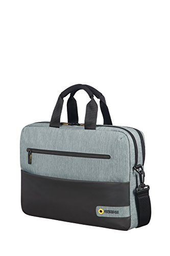 American Tourister City Drift Laptop Bag Portable Handbag Hanger, 43 cm, 16 Liters, Black/Grey