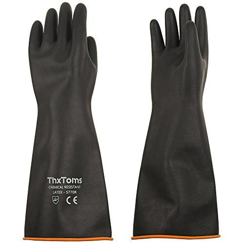 ThxToms - Resistenti guanti in lattice, resistono a forti acidi, alcali e olio, nero