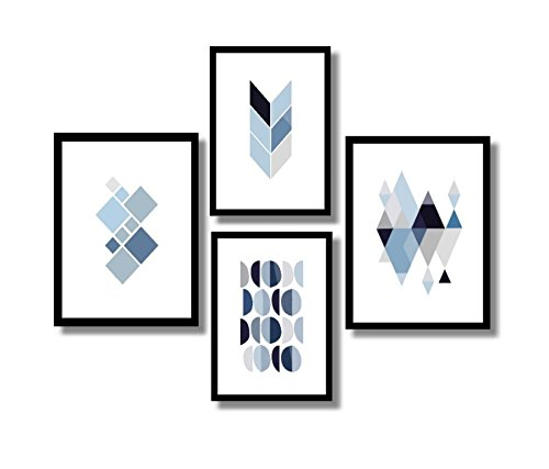 Kit 4 Quadros Decorativos Geométricos Salas, Quartos,85x70 (Azul)