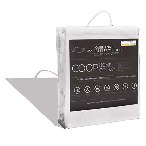 Coop Home Goods – Mattress Protector – Soft and Noiseless - Waterproof and Hypoallergenic - Protect Your Mattress Against Fluids/Spills/Mites - Oeko-TEX Certified Lulltra Fabric - Queen