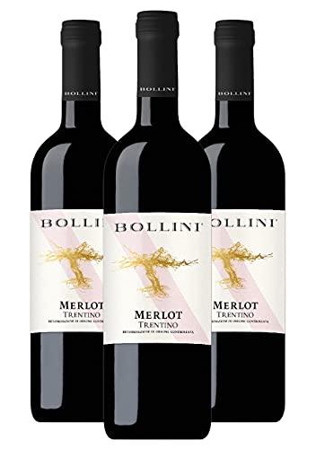 Bollini Merlot 2020 - Vino Trentino Rosso - DOC - 0.75L (3 Bottiglie)