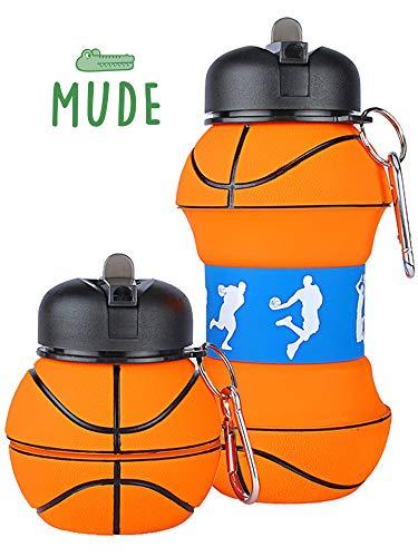 Mude-Borraccia Basket-550 millilitri-Divertente e Indistruttibile, In Silicone Apribile e...