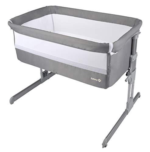 Safety 1st Beistellbett Calidoo, höhenverstellbares Beistellbettchen, gemütlich und weich gepolstert, nutzbar ab der Geburt bis 9 kg, warm grey