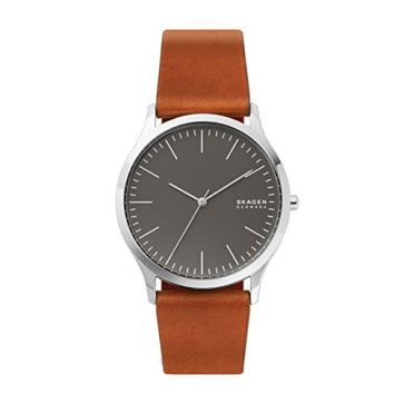 Skagen Men's Jorn Minimalistic Quartz Leather Watch, Color: Brown, 22 (Model: SKW6552)