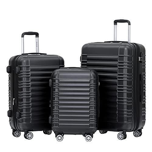 BEIBYE Hartschalen Koffer Trolley Rollkoffer Reisekoffer Zwillingsrollen Kofferset (Schwaz, Set)