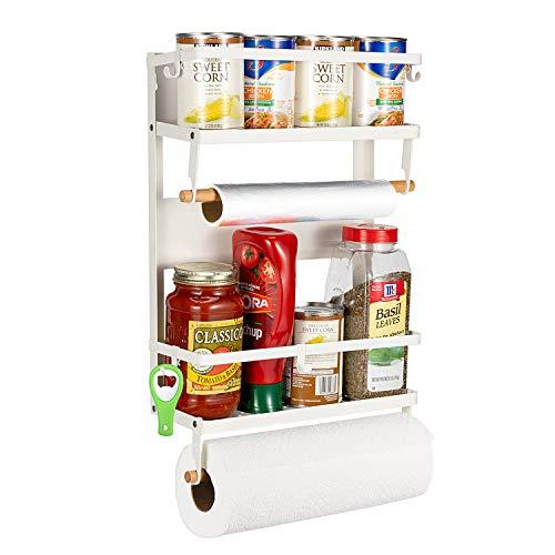 Pittaigo Magnetic Spice Rack for Refrigerator, Multi-Tier Magnetic Shelf Fridge Organizer Refrigerator Side Rack...