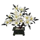 YIFEI2013-SHOP Plantas Artificiales Artificial Bonsai Jade White Orchid Bonsai Chinese Decorative Bonsai Description Display Fake Tree Pot Ornamentos para la Tienda de Oficina en casa Bonsai Tree
