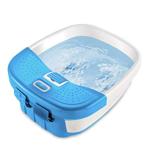 HoMedics Bubble Bliss Deluxe Foot Spa with Heat Massaging Arch, 3 Acupressure Attachments, Splash Guard, Raised Nodes Creates Bubbles, Improves Circulation, Soothe Tired Muscles, Built-In Storage