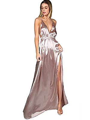 Material:100% Polyster. The material is very soft and smooth, Size runs large, pls refer to the SIZE CHART before ordering Plunge neck, spaghetti strap, side slit, maxi evening gown Sexy, formal, vintage.Great for party, cocktail, wedding, club, home...