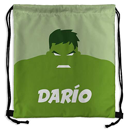Mochila Saco Superhéroes Personalizada con Nombre   Regalo Friki   Vuelta al Cole   Varios Diseños a Elegir   Hulk