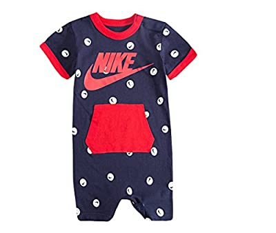 Stretchable and soft cotton fabric. Crew neckline. Solid body. Short sleeves. Snap leg closures to make changing easy. Nike signature branding print. Cotton