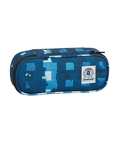 INVICTA S.P.A. Bustina Ovale Invicta, Grid Shades, Blu, Con Organizer interno porta penne