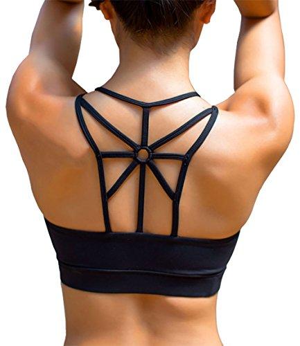 YIANNA Frauen Kabellos Füllung BHS Bewegung Yoga Sport-BH drahtloses weiches bequemes T-Shirt,UK-YA-BRA139-Black-S