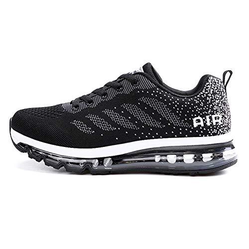 Sumateng Zapatillas de Deportes Hombre Mujer Zapatos Deportivos Aire Libre para Correr Calzado Sneakers Gimnasio Casual Black White 43 EU