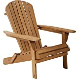 Adirondack Chair Patio Chairs Lawn Chair Folding Adirondack Chair Outdoor Chairs Patio Seating Fire Pit Chairs Wood Chairs for Adults Yard Garden w/Natural Finish