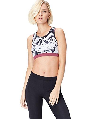 Activewear Sujetador Deportivo con Estampado Mujer, Blanco (Glass Print/damson), (Talla del fabricante: Medium)