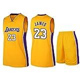 CAMILYIN Maillot de Basket-Ball pour Hommes-Lakers # 23 Adultes Enfants Unisexe Respirant Taille Standard Sweat Absorbant Respirabilité Vêtements de Sport de Basket pour L'entraînement,Jaune,S