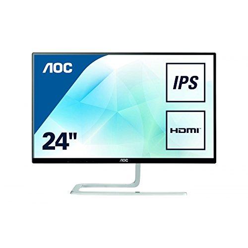 AOC I2481FXH Monitor LED da 23,8' IPS, FHD (1920 x 1080), Senza Bordi, Dsub, 2 x Hdmi, Nero/Grigio