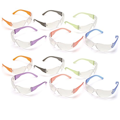 12pak Safety Glasses for Nerf Gun Kids Party - Clear Lens w/Multi-Colored Frames